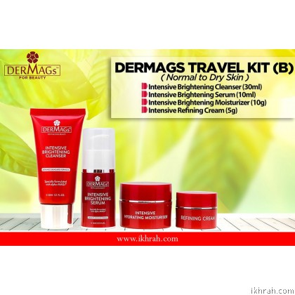 Dermags Skin Care Trial Set / Travel Kit (B) For Normal to Dry Skin