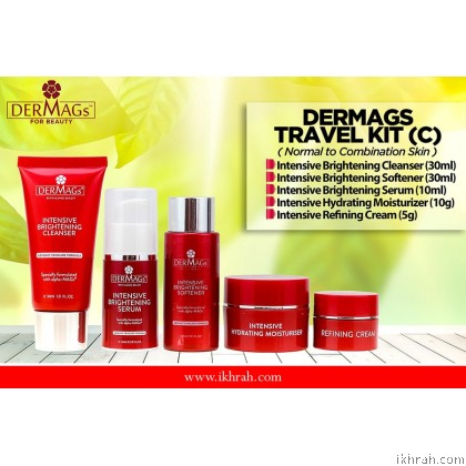 Dermags Skin Care Trial Set / Travel Kit (C) For Normal to Combination Type Skin