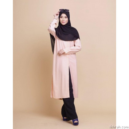 Hayla Premium Muslimah Blouse [Blush] - Exclusive From Zayyan Ar Rayyan