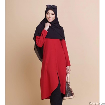 Ruby Premium Muslimah Blouse [Red] - Exclusive From Zayyan Ar Rayyan