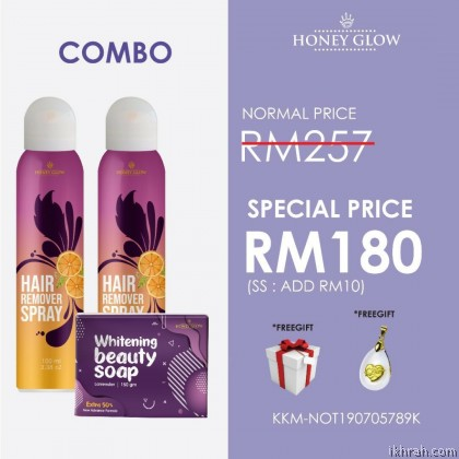 [100% ORIGINAL] COMBO 2 x Honey Glow Hair Removal Spray & 1 x Beauty Whitening Soap
