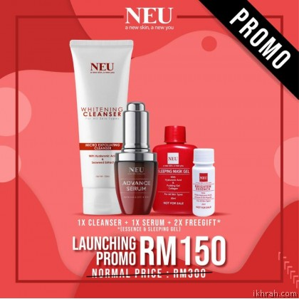 New Promotion! Complete Set NEU ADVANCE SERUM & FACIAL WHITENING CLEANSER