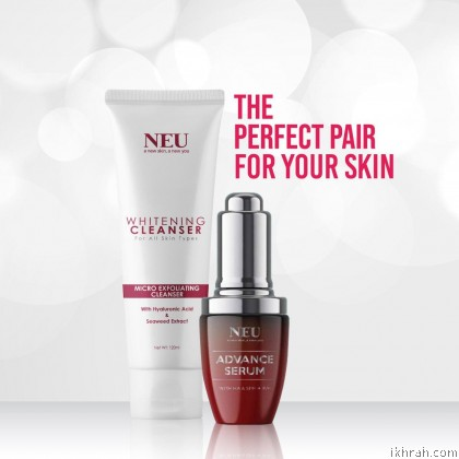 New Promotion! Complete Set 2 NEU ADVANCE SERUM & 2 FACIAL WHITENING CLEANSER